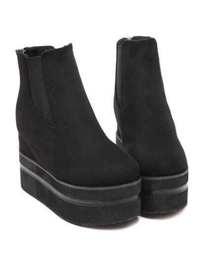 Black Round Toe Thick-soled Velvet Elastic Boots