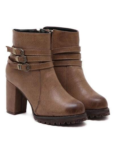 brown buckles chunky high heel ankle boots shein sheinside