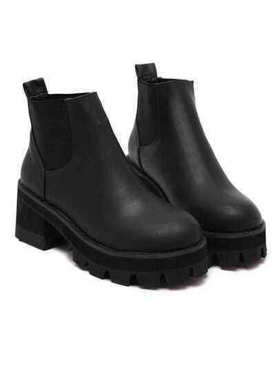 black chunky block heel velvet elastic ankle boots shein