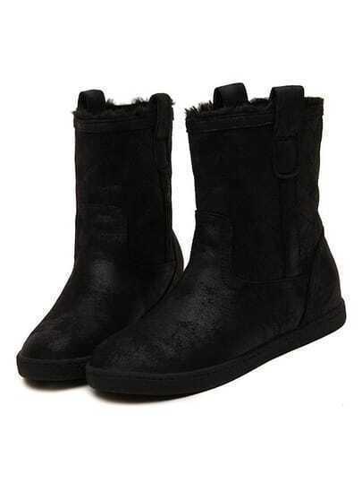 Black Round Toe Velvet Flat Snow Boots