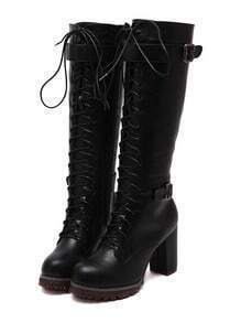 Black High Block Heel Lace Up High Boots