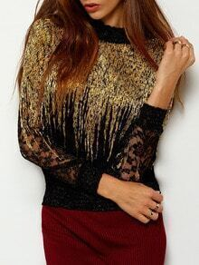 Gold Stand Collar Lace Embellished Blouse