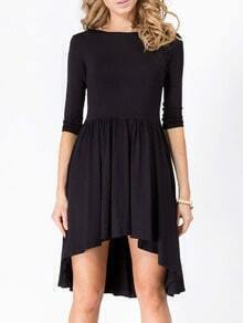 Black Boat Neck V Cut Out Back High Low Dress