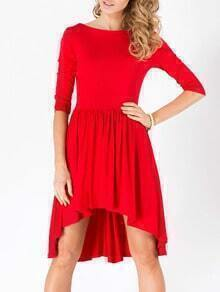 Red Boat Neck V Cut Out Back High Low Dress