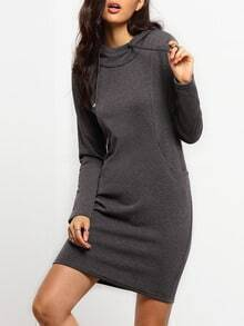 Grey Drawstring Hooded Pocket Sweatshirt Dress