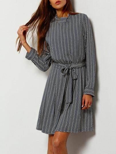 Blue Wave Pattern Stand Collar Belted Dress pictures