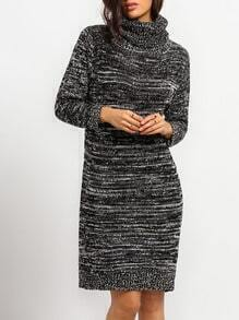 Grey Turtleneck Knee Length Sweater Dress