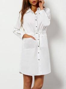 White Split Sleeve Button Belted Shirt Dress