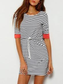 Round Neck Striped Drawstring Tshirt Dress