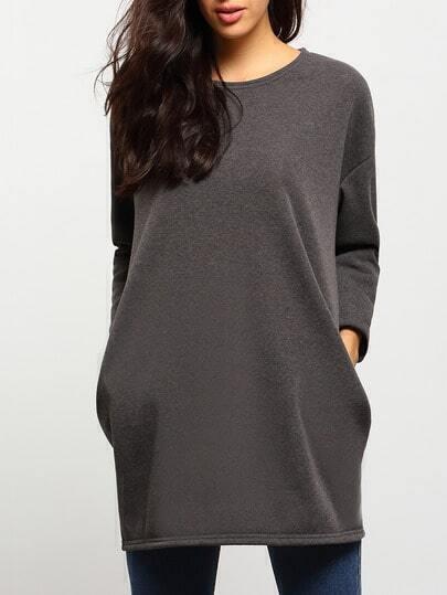 Grey Round Neck Pocket Sweatshirt Dress