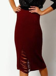 Burgundy Ribbed Distressed Pencil Skirt