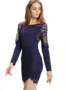 Navy Long Sleeve Lace Bodycon Dress