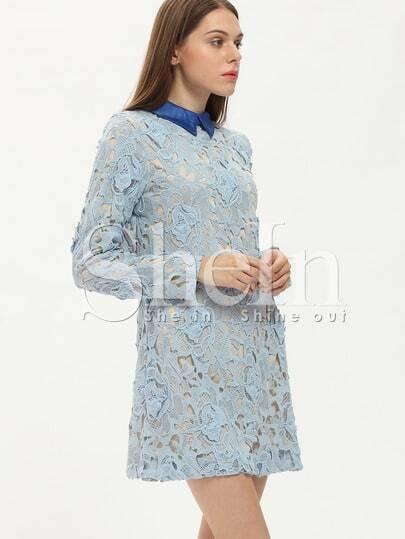 Blue Long Sleeve Lace Dress