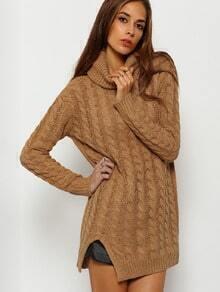 Khaki Cowl Neck Cabel Knit Side Split Sweater