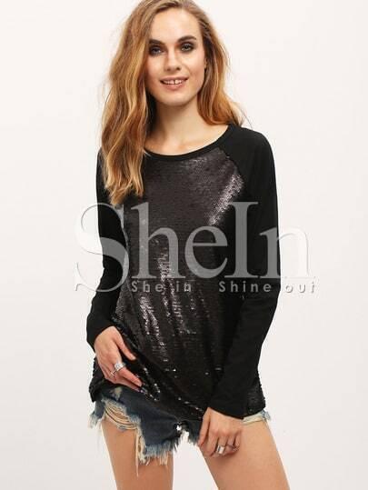 Black Long Sleeve Sequined Sweatshirt