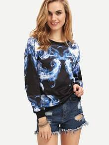 Navy Round Neck Smoke Print Sweatshirt