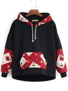 Black Drawstring Hooded Sweatshirt With Contrast Patches