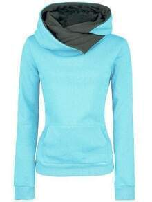 Blue Hooded Long Sleeve Slim Sweatshirt