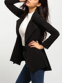 Black Lapel Belted Slim Coat