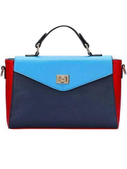 Red Blue Twist Lock PU Shoulder Bag