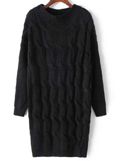 Black High Neck Long Sleeve Sweater Dress