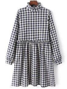 Blue White Frill Neck Plaid Loose Dress