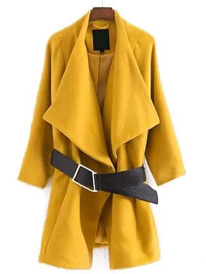 Yellow Lapel Batwing Sleeve Loose Coat