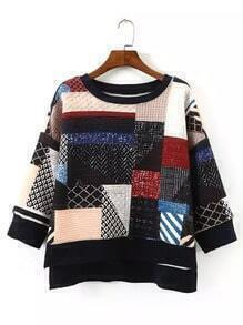 Colour Round Neck Geometric Print Sweatshirt