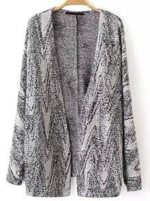 Grey Long Sleeve Loose Sweater Coat
