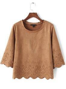 Khaki Round Neck Hollow Crop Blouse