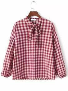 Red White Tie-neck Plaid Loose Blouse