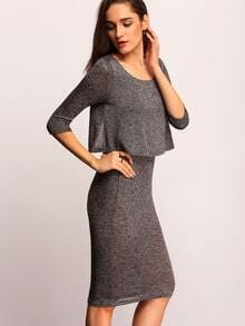 Grey Round Neck Split Back Sheath Combo Dress