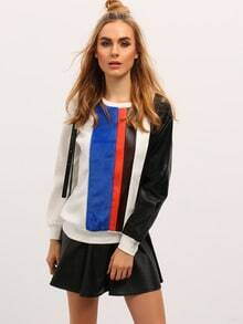 Multicolor PU Leather Sleeve Faux Fur Color Block Sweatshirt