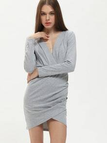Grey Deep V Neck Backless Bodycon Dress