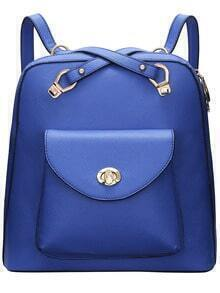 Blue Twist Lock PU Backpack