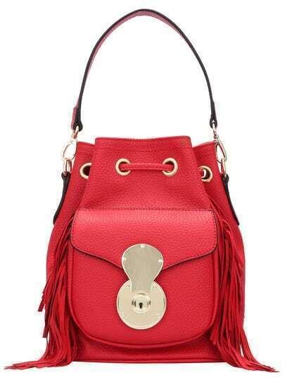 Red Drawstring Tassel PU Shoulder Bag