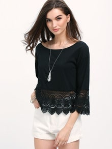 Black Round Neck Lace Crop T-Shirt