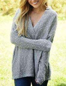 Grey V Neck Jacquard Loose Sweater