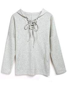 Grey Hooded Lace Up Loose Sweatshirt
