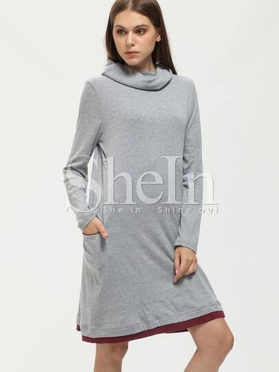 Grey Turtleneck Pockets Casual Dress