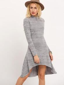 Grey Crew Neck High Low Dress