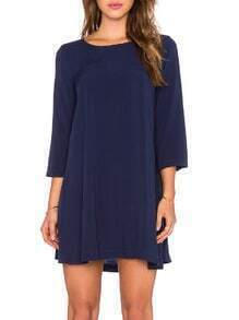 Navy Crew Neck Casual Dress