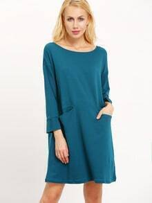 Dark Green Crew Neck Pockets Casual Dress