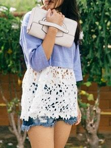 Blue Contrast White Lace Hollow T-Shirt