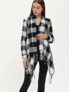 Black White Plaid Asymmetric Fringe Cardigan