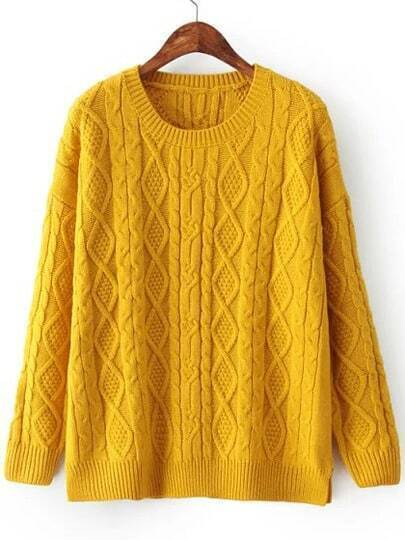 Yellow Crew Neck Cabel Knit Sweater