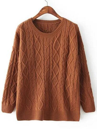 Brown Crew Neck Cabel Knit Sweater