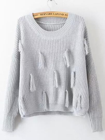 Jersey embellecido flecos -gris