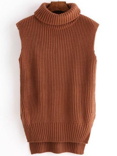 Brown Cowl Neck Dip Hem Vest Sweater