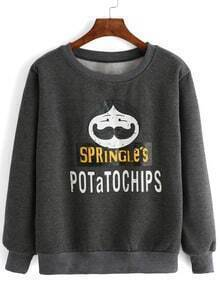 Grey Crew Neck Cartoon Print Sweatshirt